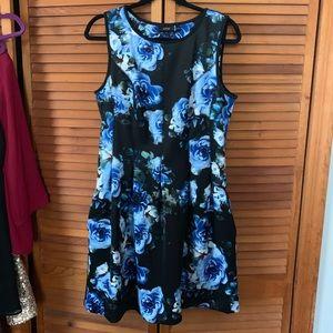 Apt. 9 Large Blue and Black Floral Dress